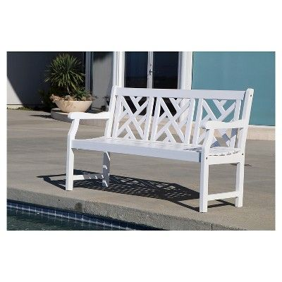 Vifah Bradley Outdoor Wood Bench White Products White Garden