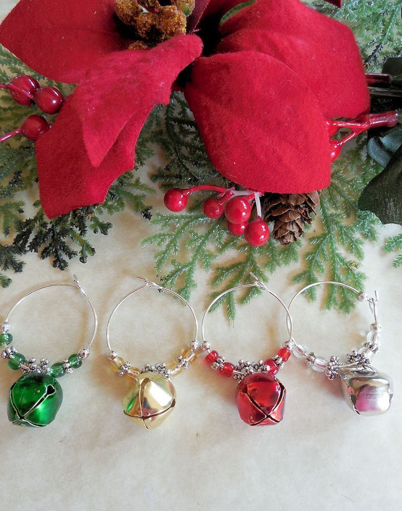 4 Christmas Jingle Bell Wine Glass Charms Inexpensive Gift Or Stocking Stuffer Ebay Wine Glass Charms Wine Charms Diy Wine Charms