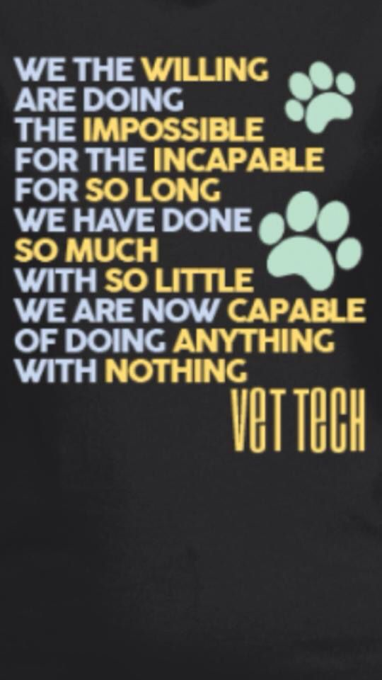 I\'ve heard a lot of Vet tech sayings, but this one really ...
