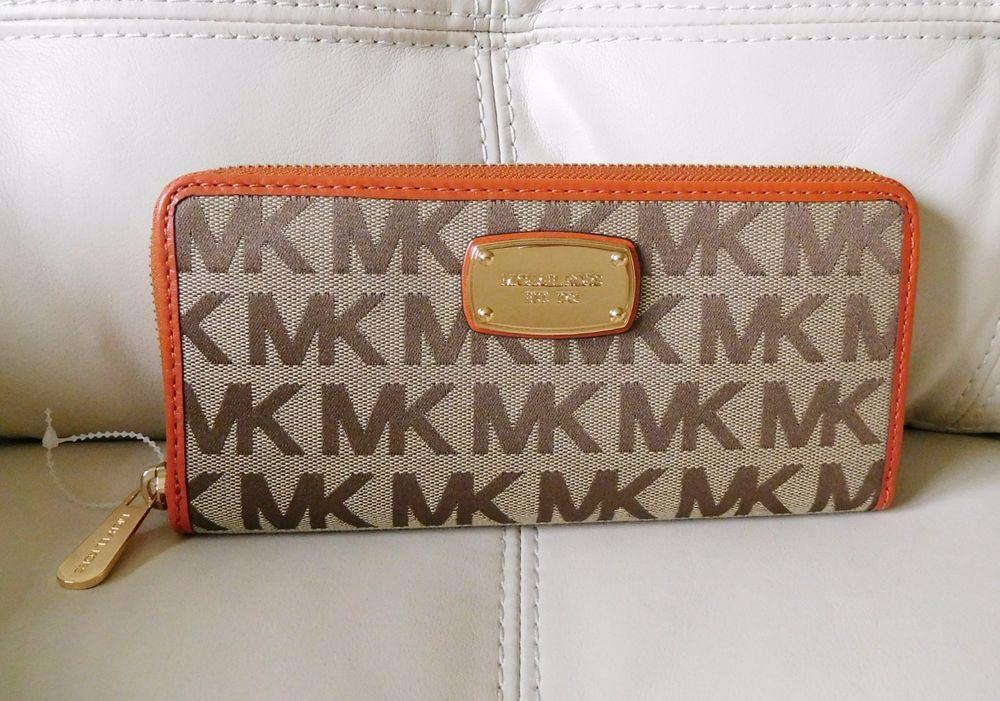 d6662553358d New Michael Kors Jet Set Item ZA Continental Signature Wallet Ebony/Burnt  Orange #MichaelKors #Wallet