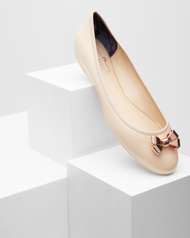 8dc03878d94597 Bow detail ballerina pumps - Nude Pink