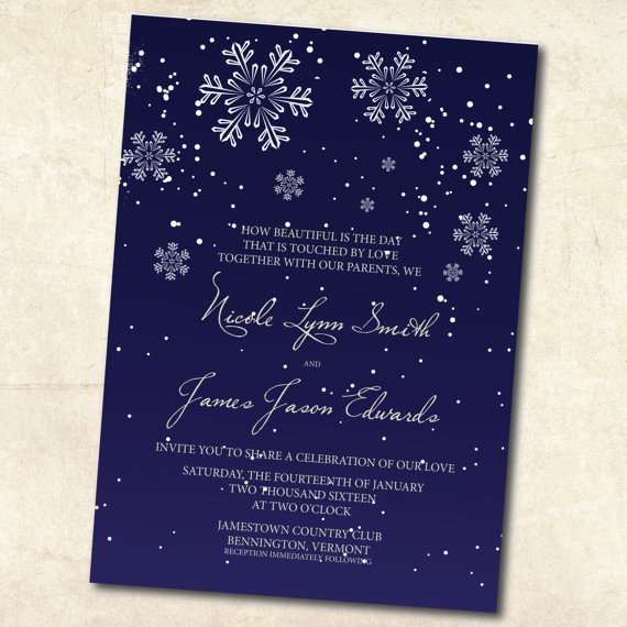 Printable Winter Wedding Invitation Navy By