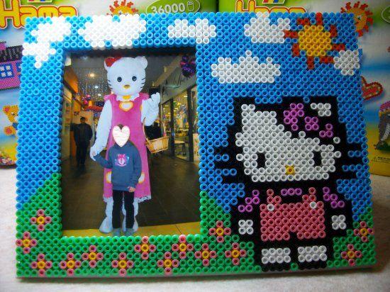 Cadre photo Hello kitty en perle hama | melty beads patterns