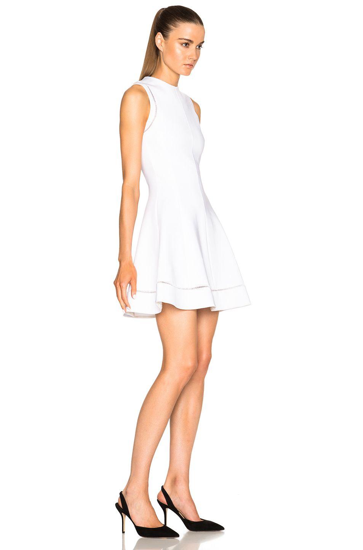 Image 3 Of Victoria Beckham Dense Rib Ajoure Flare Mini Dress In White [ 1440 x 953 Pixel ]