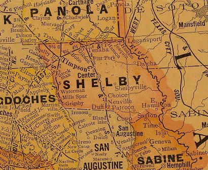 Shelby County Texas 1920s Map Shelby County Texas The