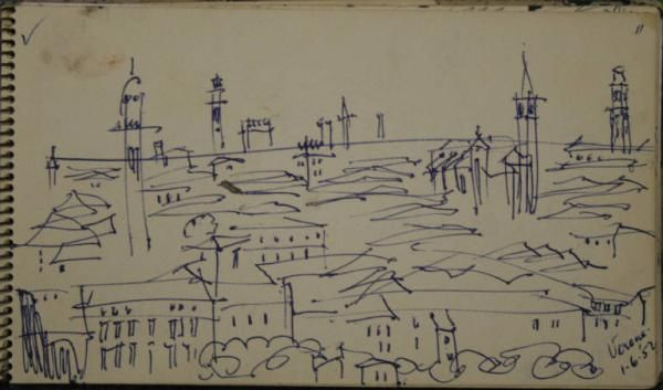 William Congdon Grosvenor ( 1912-1998 )  -Verona veduta della città - dat. 01/06/1952 -penna e carta cm.18x10,5 The William G.Congdom Foudation , Buccinasco (Mi)