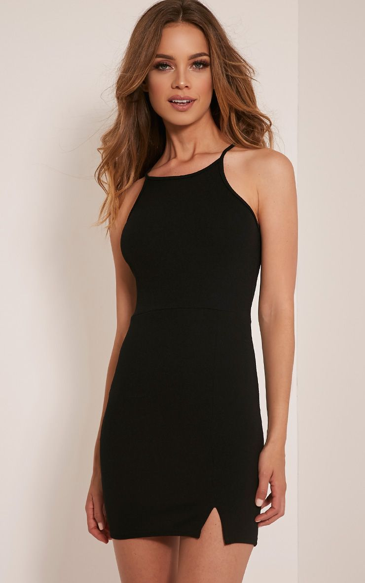 Aniqah Black High Neck Split Detail Bodycon Dress | Goin Ouuuut ...
