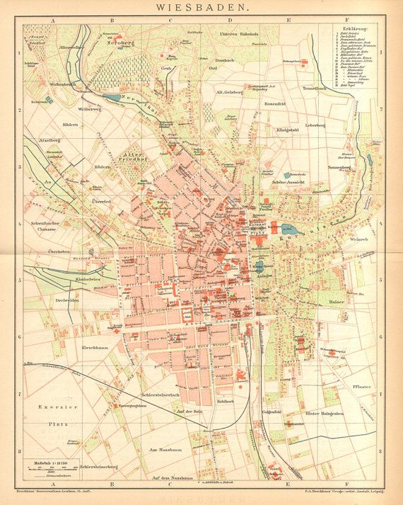 1895 Original Antique City Map of Wiesbaden by CabinetOfTreasures