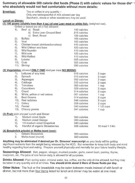 HCG DIET FOOD LIST P2 500 calories a day! A little scary but its - food list samples