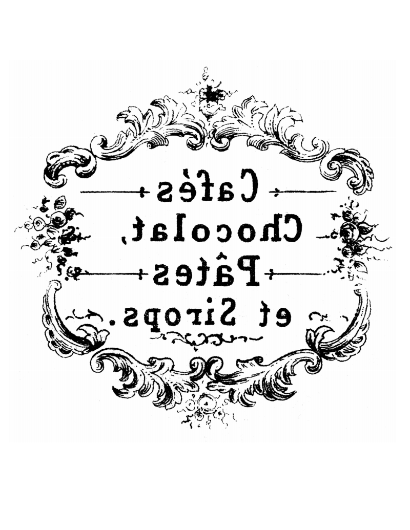 Furniture Decal Image Transfer Vintage Antique French Key Hole Typography Sign