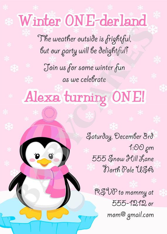 Cute Invite Wording Winter Onederland