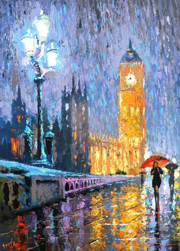 Night London In Rain Oil Painting On Canvas By Dmitry Spiros Pinturas Impressionistas Pintura A Oleo Moderna Arte Impressionista
