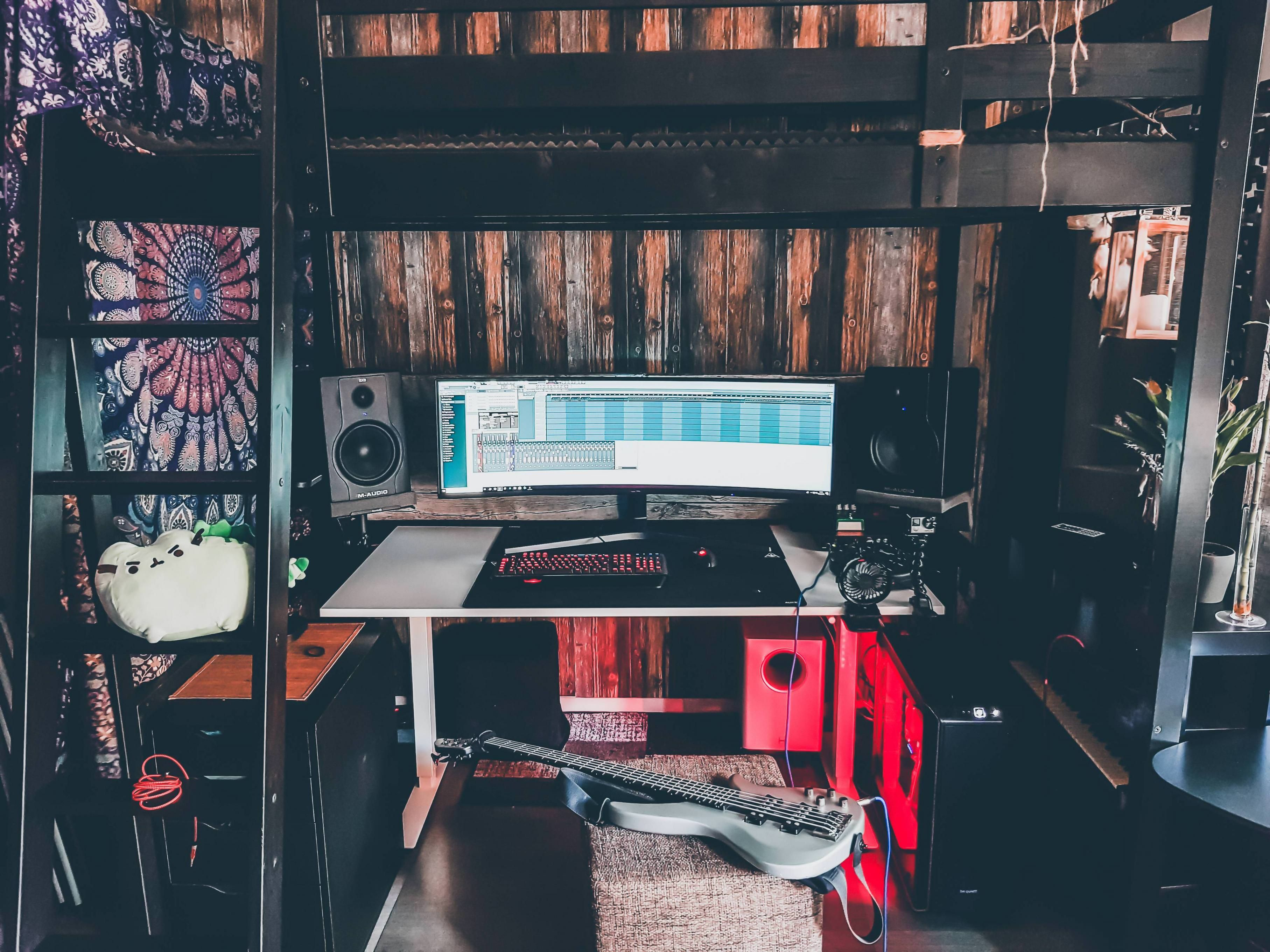 My gaming and music production heaven under a loft bed