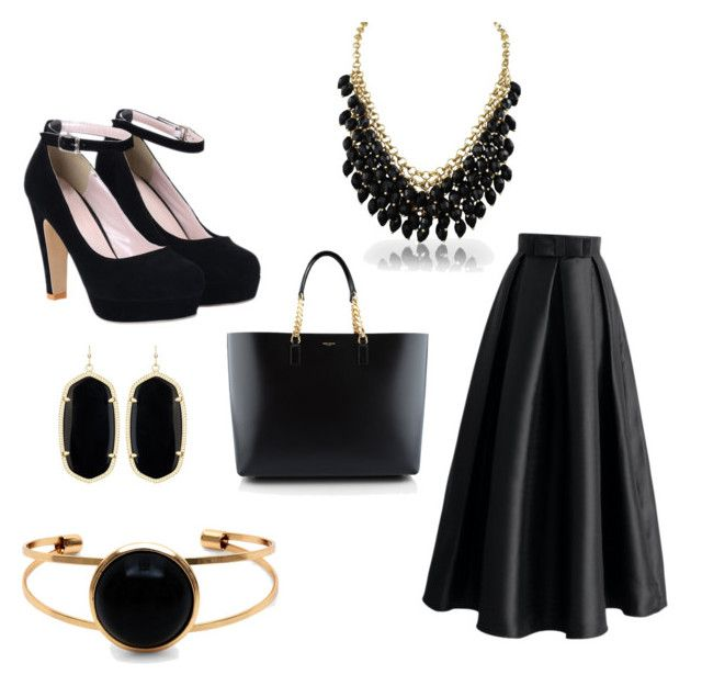 """Gold & Black"" by hananhassan on Polyvore featuring Chicwish, Yves Saint Laurent and Kendra Scott"