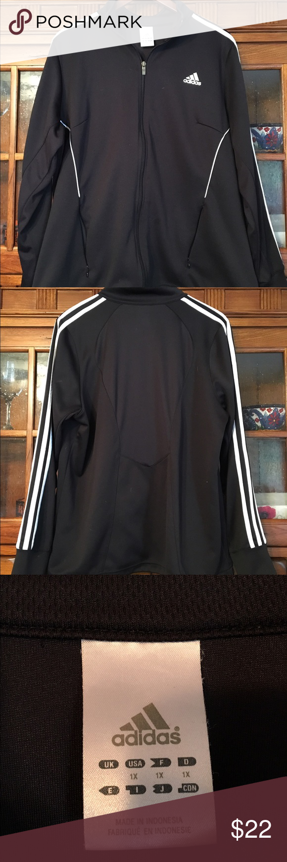 Adidas jacket Has a meshy feel to it .Only worn a few times it's too big. Adidas Other