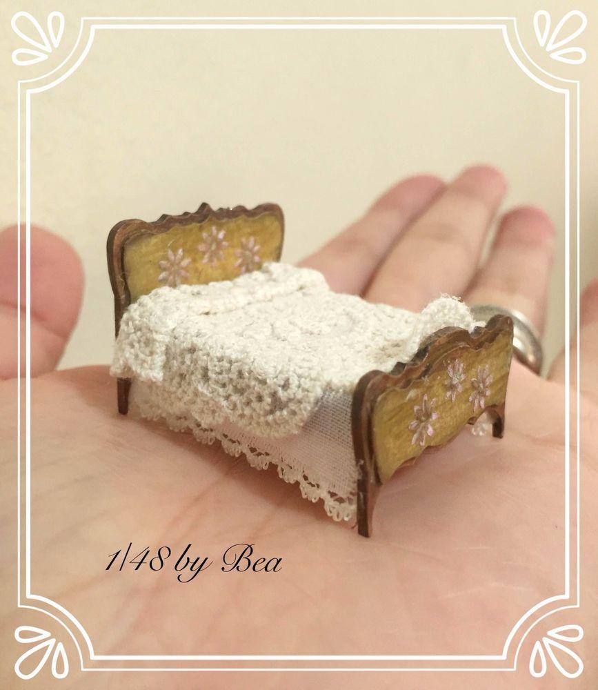 Cama Victoriano Miniaturas De 1/48 Dollshouse madera hecho a mano ...