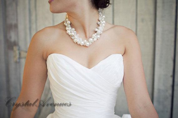 Pearl Bridal Necklace Chunky Wedding By Crystalavenues 115 00
