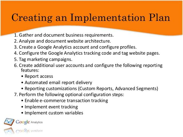 google analytics implementation plan - Google Search Business - Implementation Plan Template
