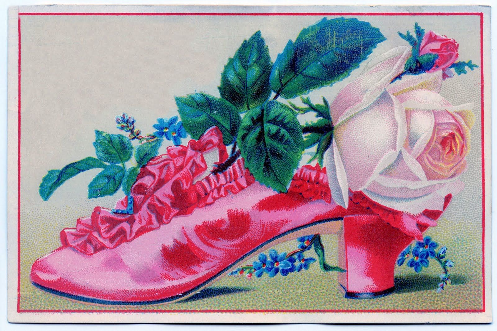 Click on images to enlarge I found another wonderful Victorian shoe graphic!! This one has the most beautiful ruffles on it and a gorgeous pale pink Cabbage Rose. This card was used as an advertisement for a shoe store in New Jersey. I've added a second version with out the writing as well. XXXOOO