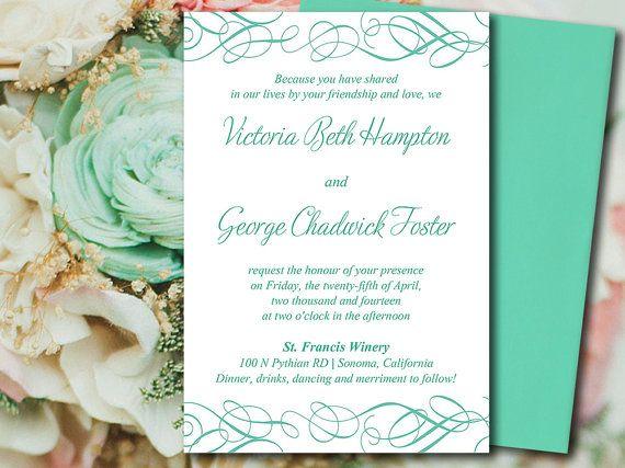 diy wedding invitation template whimsical swirl mint sea green