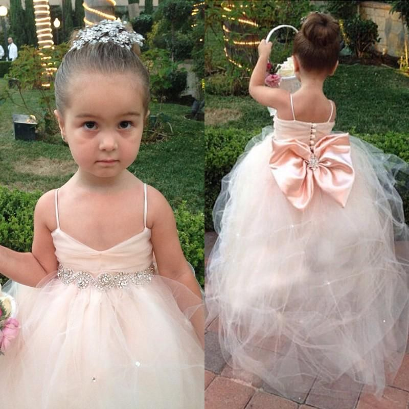 2015 Flower Girls Dresses For Weddings Girls Special Occasion Formal Gowns Puff Soft Tulle Kids Bridesmaid Dress With Big Bow In Blush Pink Cute Girl Dresses Dresses For Girl From Weddingfactory, $82.73| Dhgate.Com