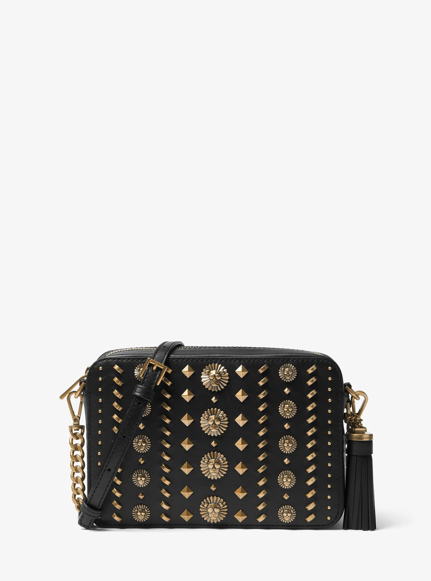 Michael Kors Ginny Medium Embellished Leather Crossbody - Black ... 4c309c2423f3e