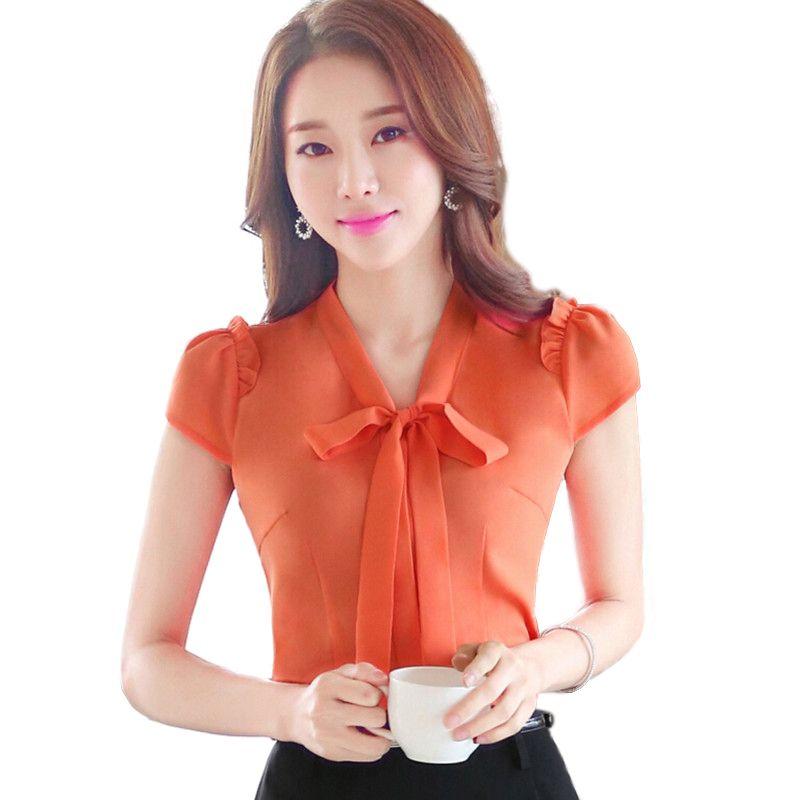 30ad24714 Cheap 2016 moda de verano ropa OL elegante arco blusa OL delgado Formal de  la corto manga más tamaño para mujer de la oficina mujer S 4XL