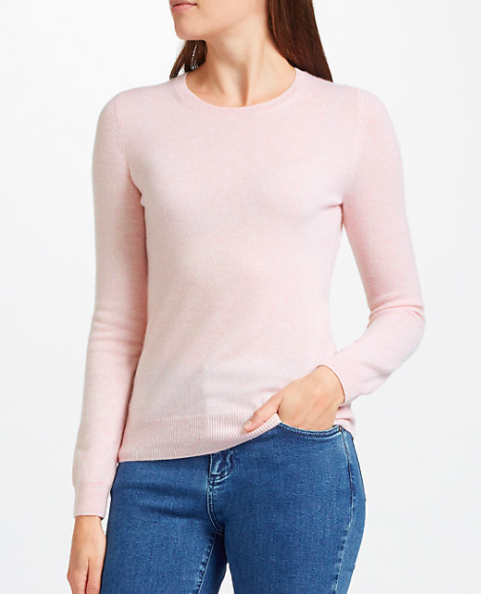 f5c728161208e8 John Lewis Cashmere Crew Neck Jumper - Soft Pink, Light Grey & Black | My  Gift Want List | Organized Joy
