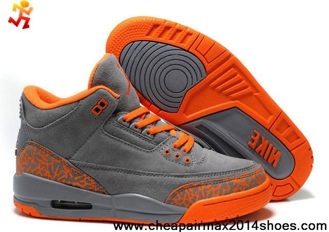 39dbc61d7fad Buy Discount Women Air Jordans 3 (III) Fluff Grey Orange Newest Now ...
