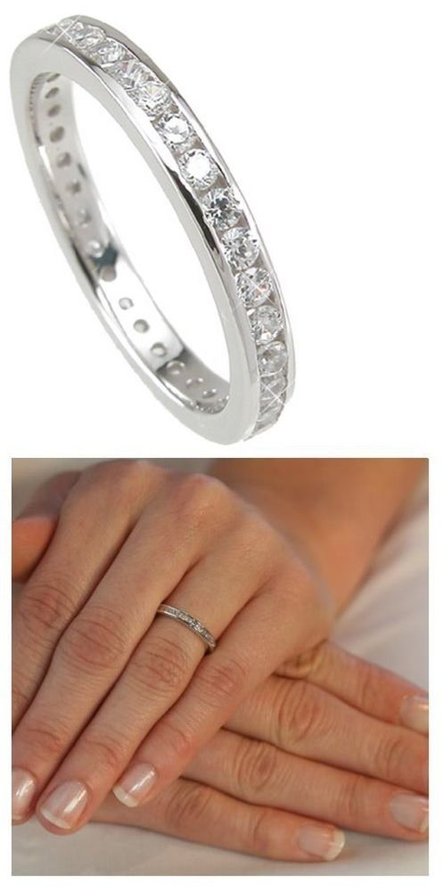 Other Wedding and Anniv Bands 92866: 2.72 Eternity Band Engagement Wedding Ring Diamond Simulated Platinum Ep Size 9 -> BUY IT NOW ONLY: $33.99 on eBay!