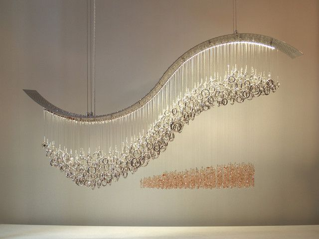 Crashing Wave Swarovski Crystal Chandelier By Water Pressure Lighting