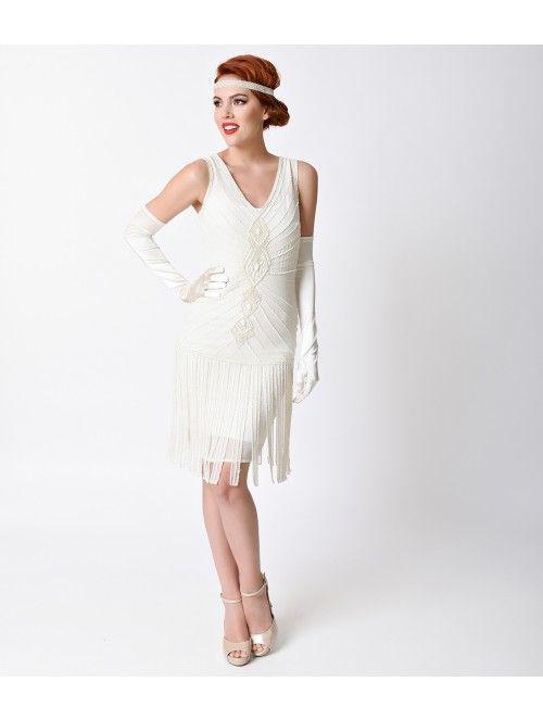 Unique Vintage Deco Ivory Beaded Fringe Aelita Flapper Dress