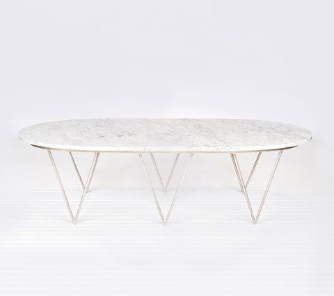 Oval Silver Leaf Hairpin Coffee Table W Surf Leafed White Marble Top From Worlds Away Tail