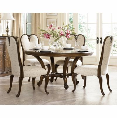 American Drew Jessica McClintock Dining Set With 4 Upholstered Chairs    American Drew Furniture   Www