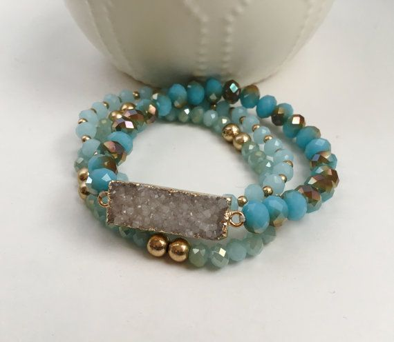Druzy Beaded Multi Rows Stretch Bracelet Druzy by AnnaJaneGoods