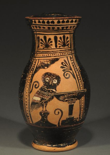 Attic Black-figure Olpe by the Half Palmetter Painter, c. 500 BC With an owl standing on a pedestal next to a laver (wash basin).