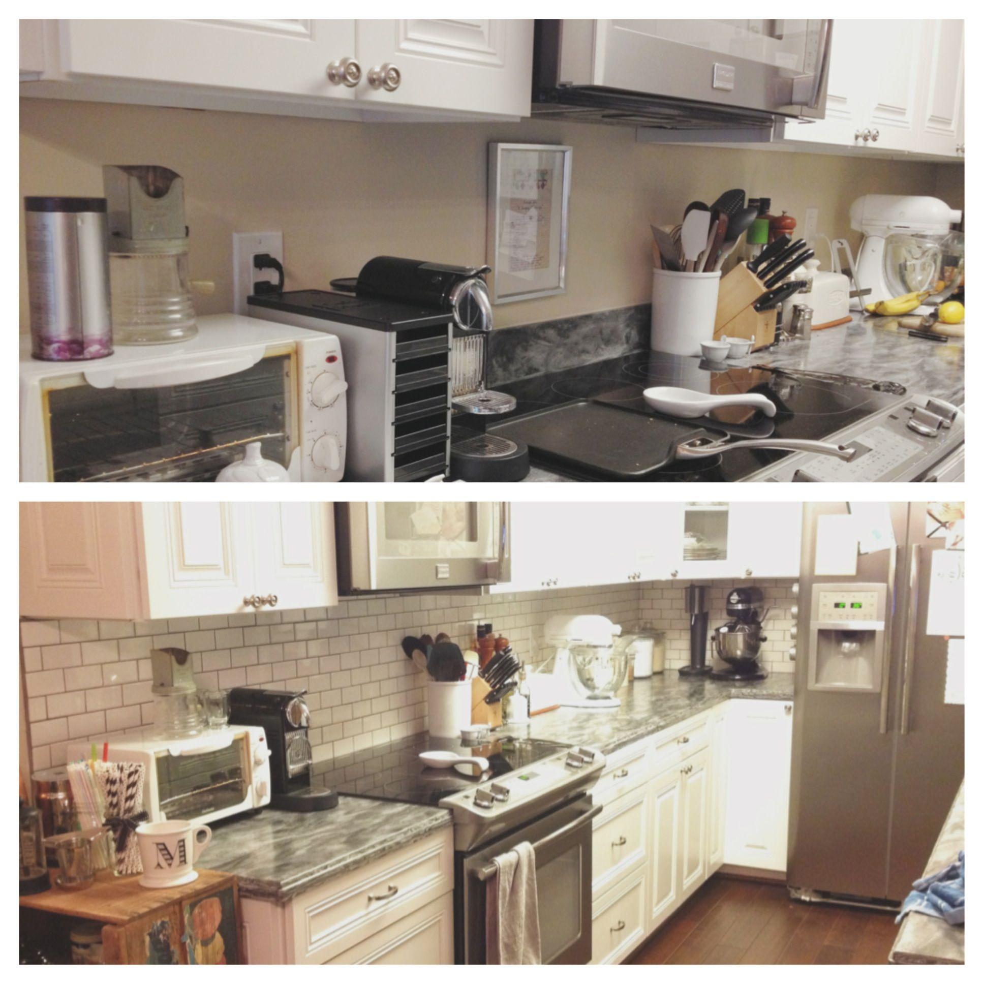 Before And After. DIY Kitchen Backsplash.