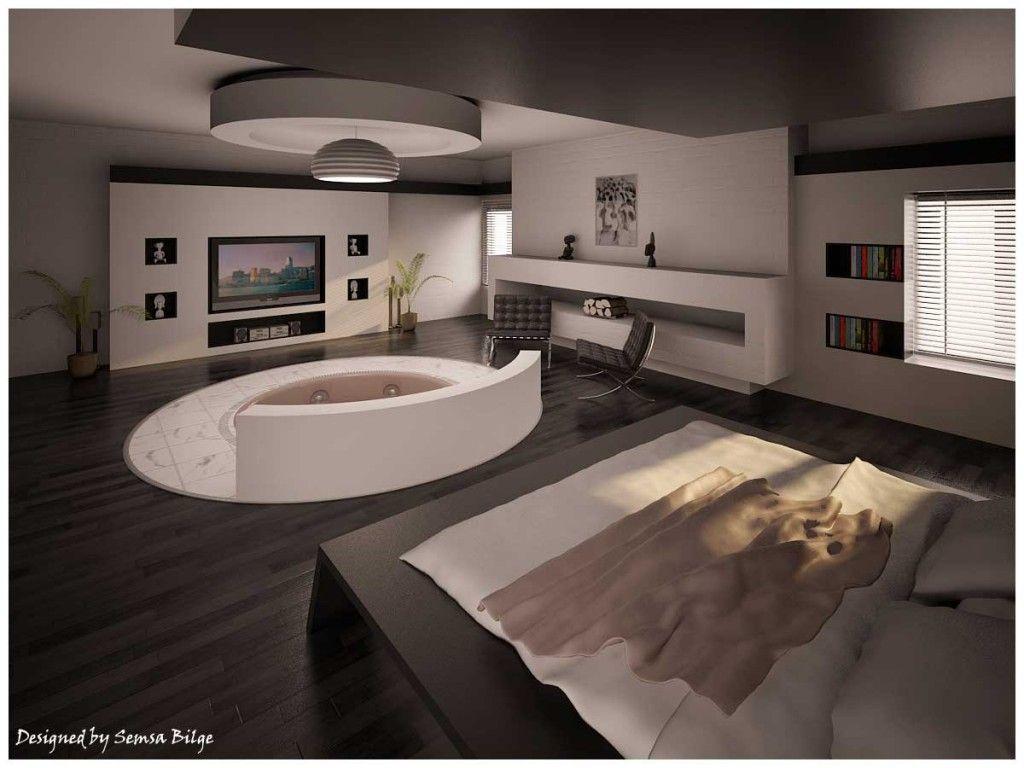 Elegant Cool Modern Bedroom | Amazing Built In Jacuzzi Bedroom 1024x768. Idea