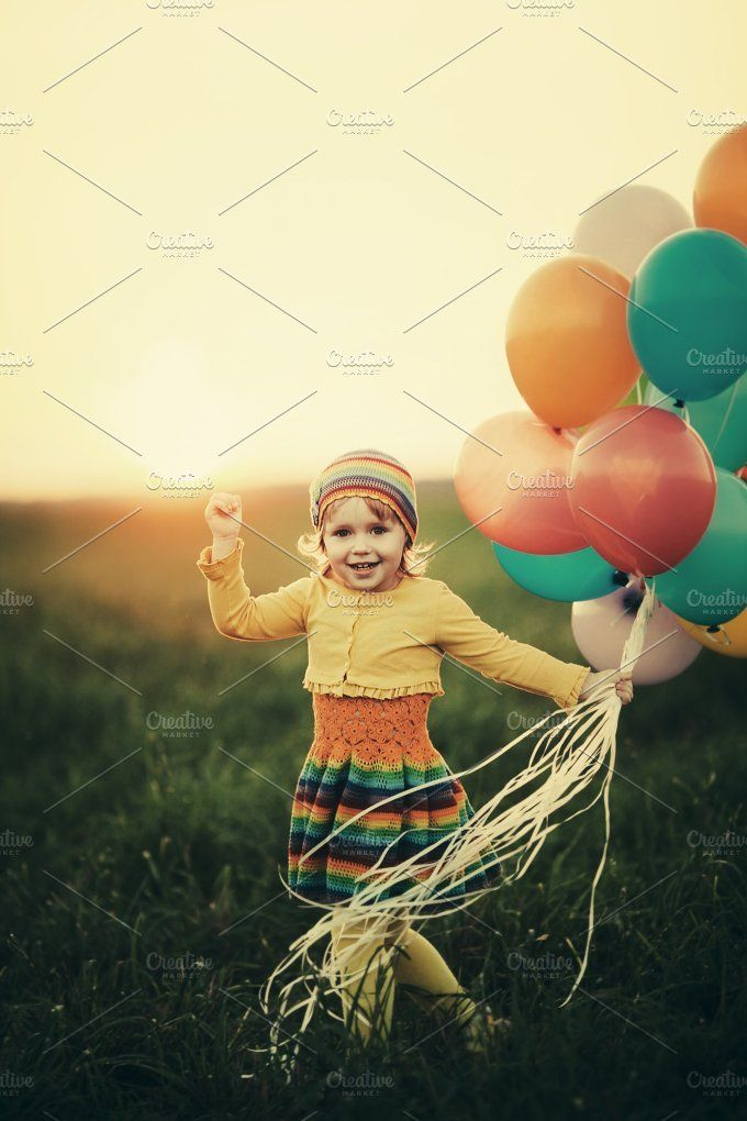 5a505542a happy girl with balloons by AlohaHawaii on @creativemarket ...