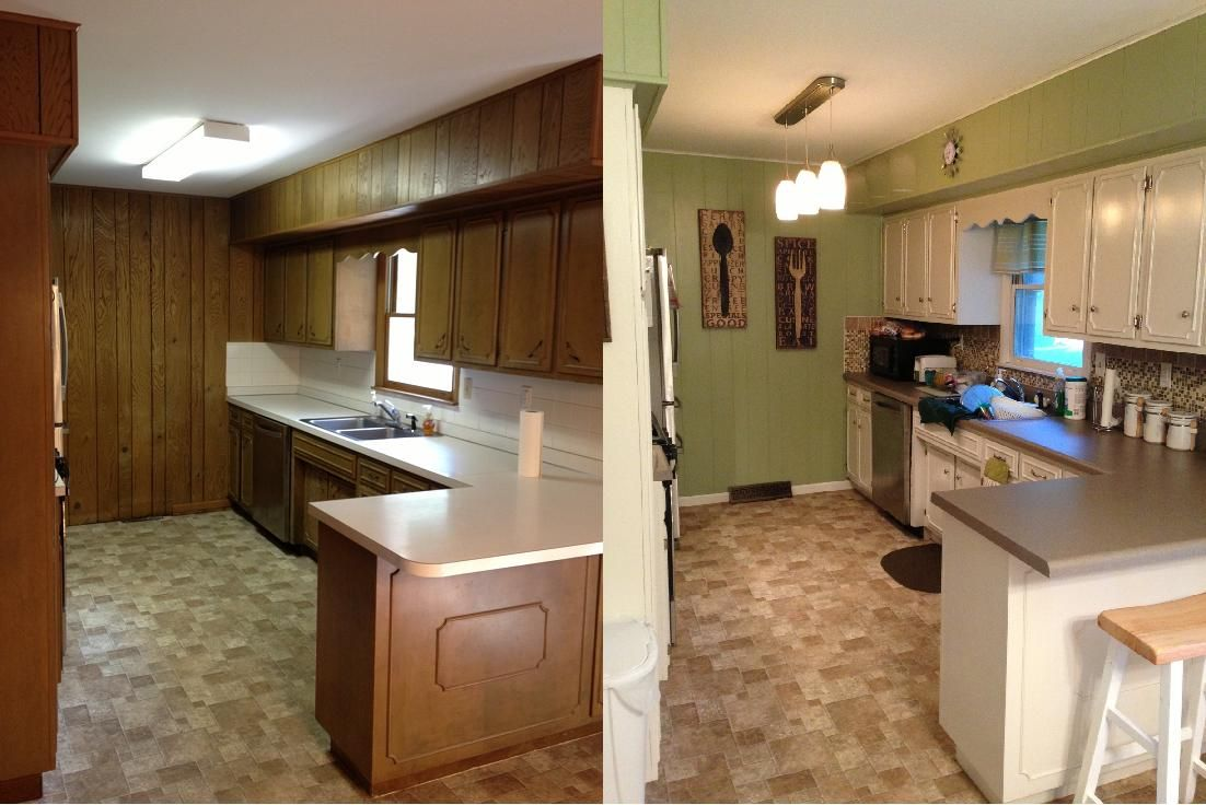 kitchen before & after. 70's ranch-style house kitchen update