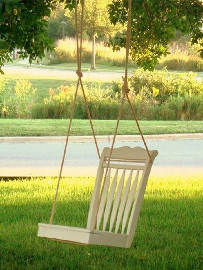 Diy Chair Tree Swing Backyard Diy Projects Diy Backyard Backyard Projects