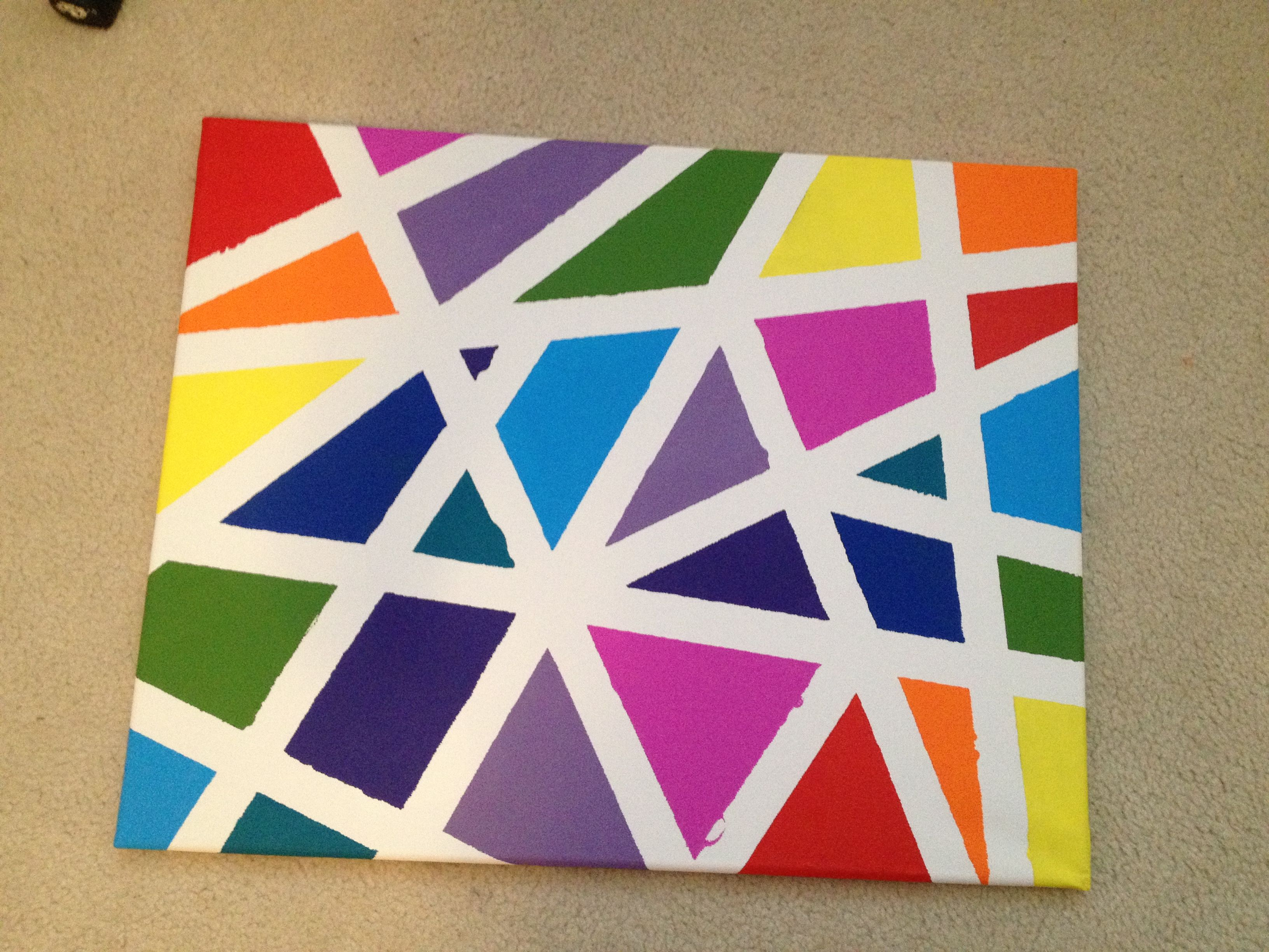 Canvas Tape Painting Using Green Painters In Long Directional Pieces Paint Colours Each Shape Leave To Dry Over Night