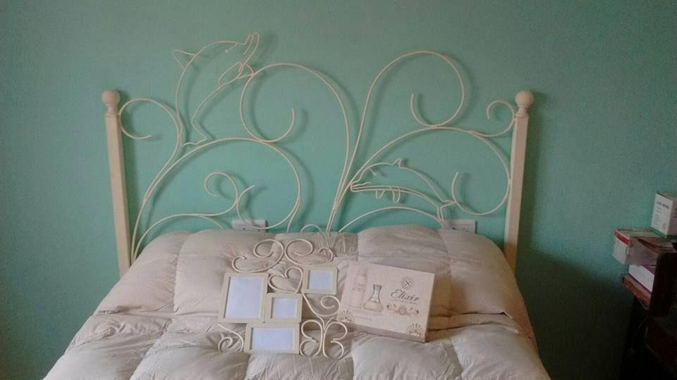 Cabecera de cama de hierro 2 plazas con motivos de delfines y porta ...