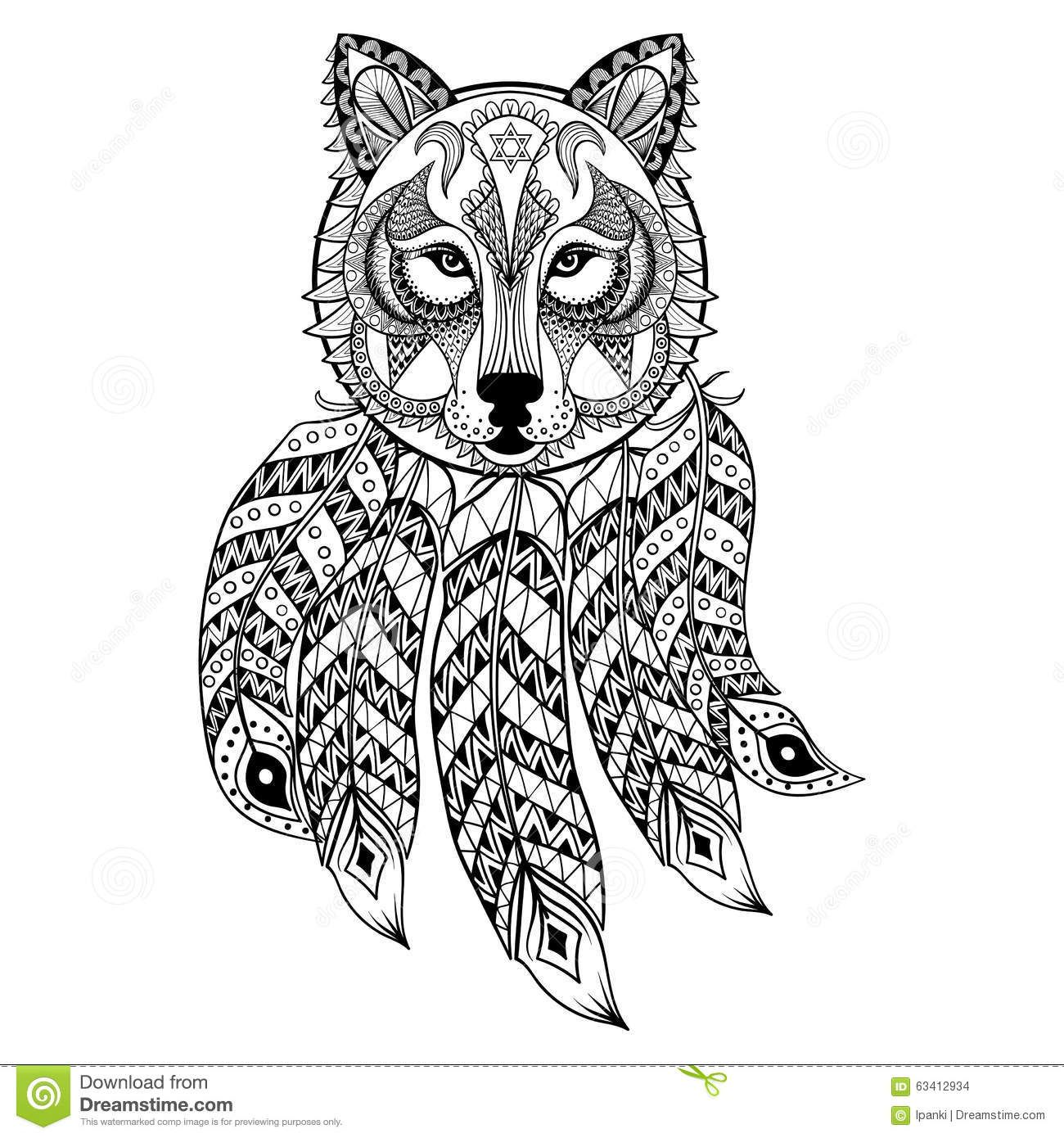 Wolf mandala coloring pages - Wolf Dream Catcher Coloring Pages Adult Pages Dream Catcher