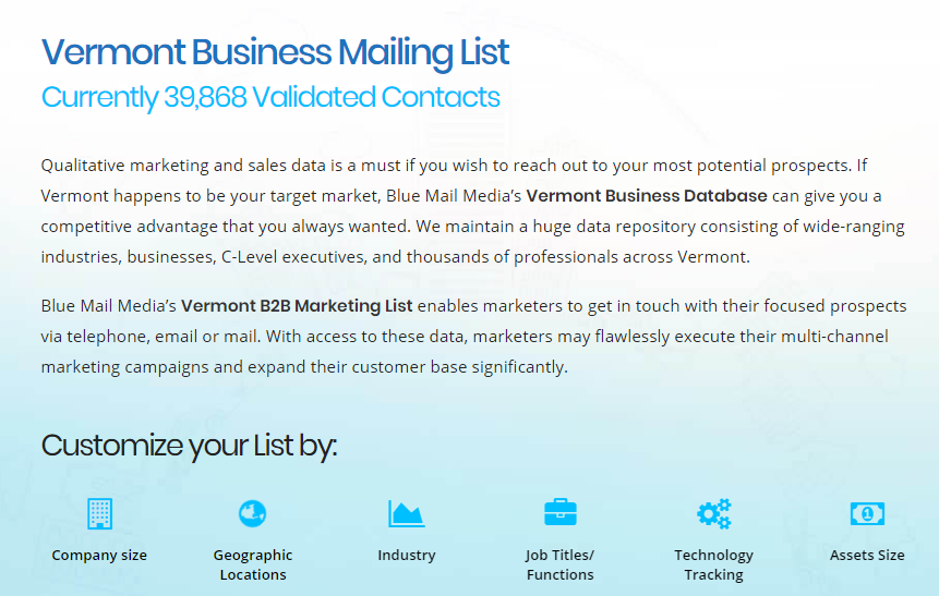 Vermont Email List Vermont Business Mailing List Vt Sales