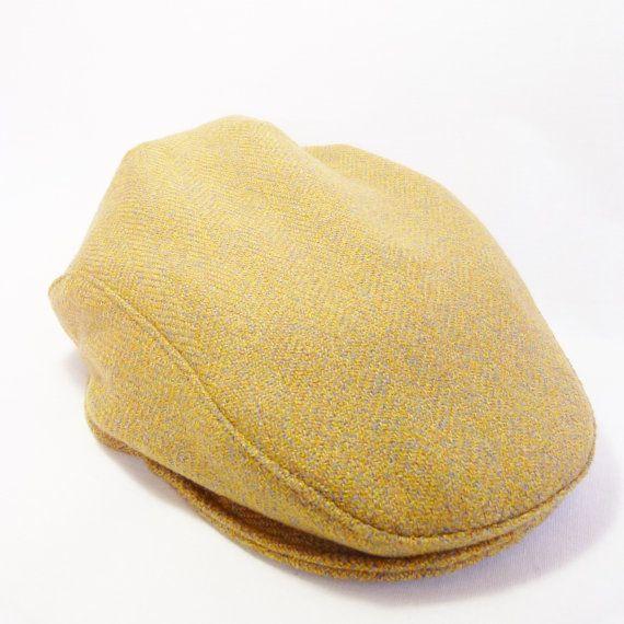 Mens Flat cap - Traditional Wool Tweed - Mustard Yellow 6b18b57c085