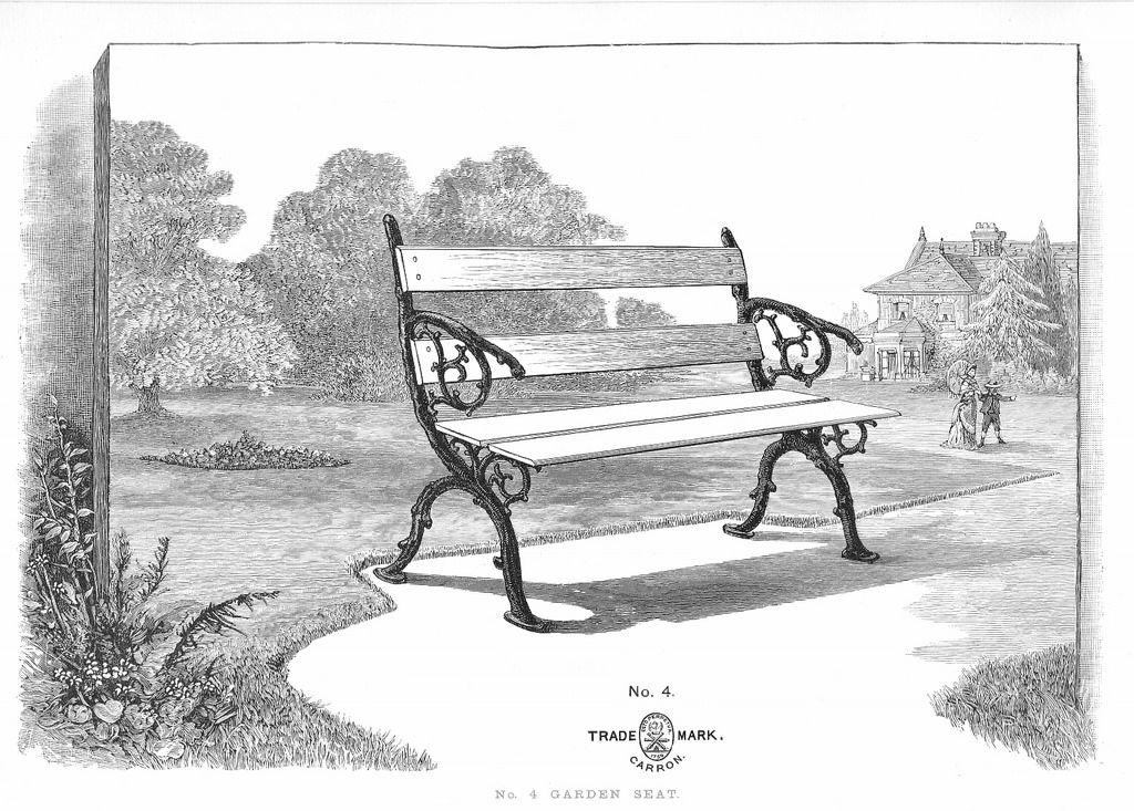 Carron Garden Seat 1891 Proyectos de jardín, Antigua