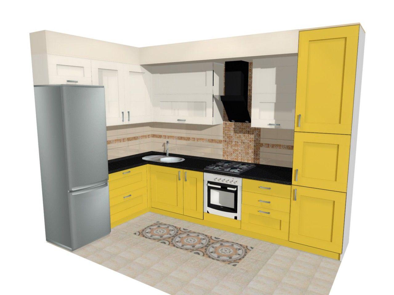 макет Pro100 макет кухни кухня желтая кухня угловая кухня со