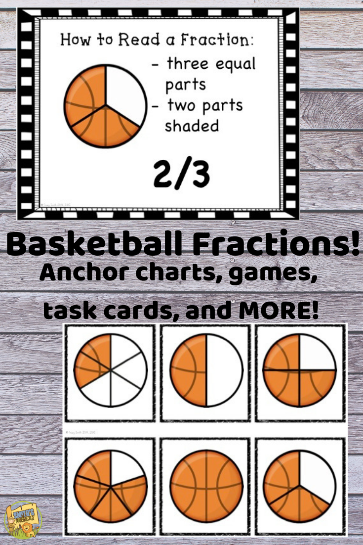 Fractions Basketball Theme Fractional Parts 1 Ga 3 2 Ga 3 3 Ga 2 Fractions Math Activities Math