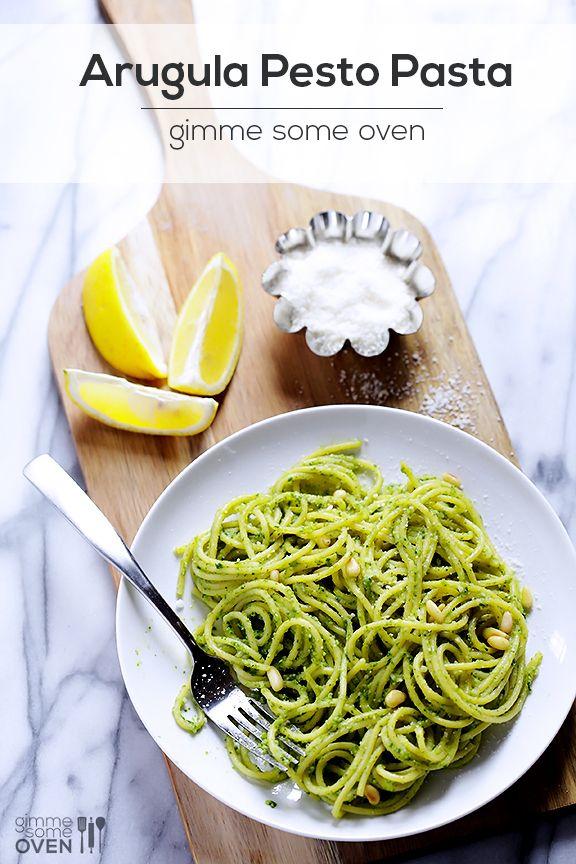 Arugula Pesto Pasta | gimmesomeoven.com #pasta #pesto #arugula